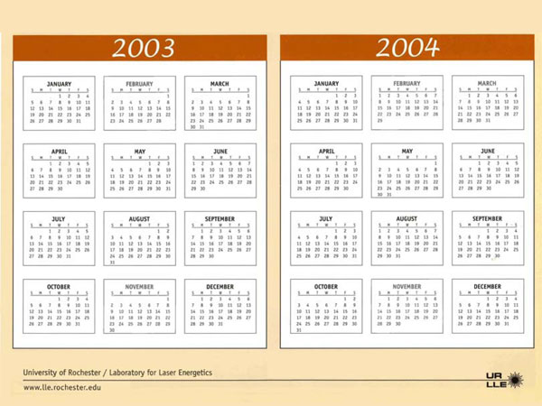 Page from 2003 Calendar