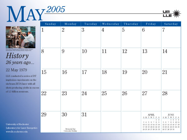 May Calendar History : Calendar laboratory for laser energetics