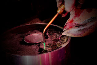 Lead being poured into a form