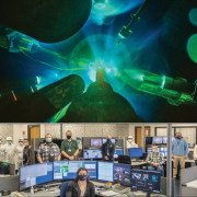 Target chamber experiment shown on top and a group photo of the operations team beneath