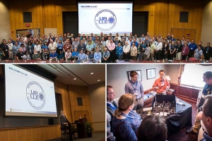 Participants in the 12th DOE Laser Safety Workshop (top), and images from the workshop (bottom)