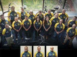 LLE employees wearing biking jerseys