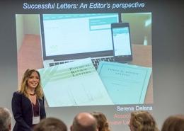 Serena Dalena (APS/PRL) helps OLUG workshop participants understand the journal editorial process