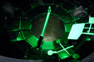 South pole bang-time detector is shown here inside the NIF target chamber
