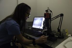 Katherine Kopp working on a lab exercise