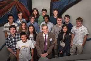 Group photo with Stephen Craxton and high students