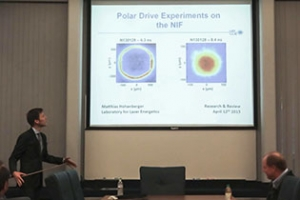 Matthias Hohenberger giving presentation on Polar Drive Experiments