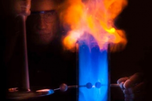 Thomas Jones demonstrating ignition of acetone vapor