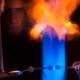 Thomas Jones demonstrating ignition of acetone vapor
