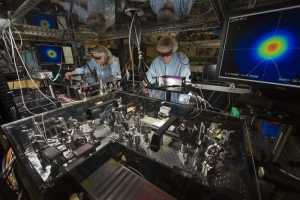 Rick Roides and Christophe Dorrer at the Ultrafast Optical Parametric Amplifier in the Laser Development Laboratory