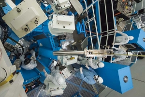 Part of the new Neutron Temporal Diagnostic (NTD) assembly being lowered into target chamber