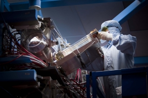Josh Reindl accessing the flash lamps in one of the sixty beamlines