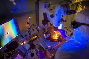 Scientist mounting cryogenic targets