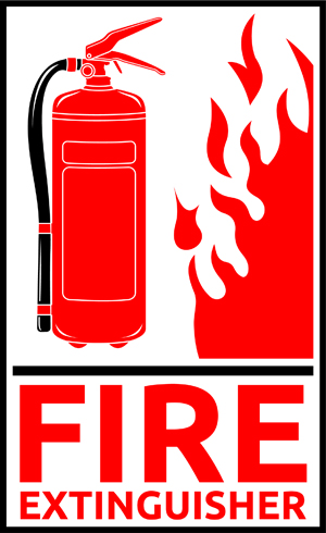 Graphic of red Fire Extinguisher and flames
