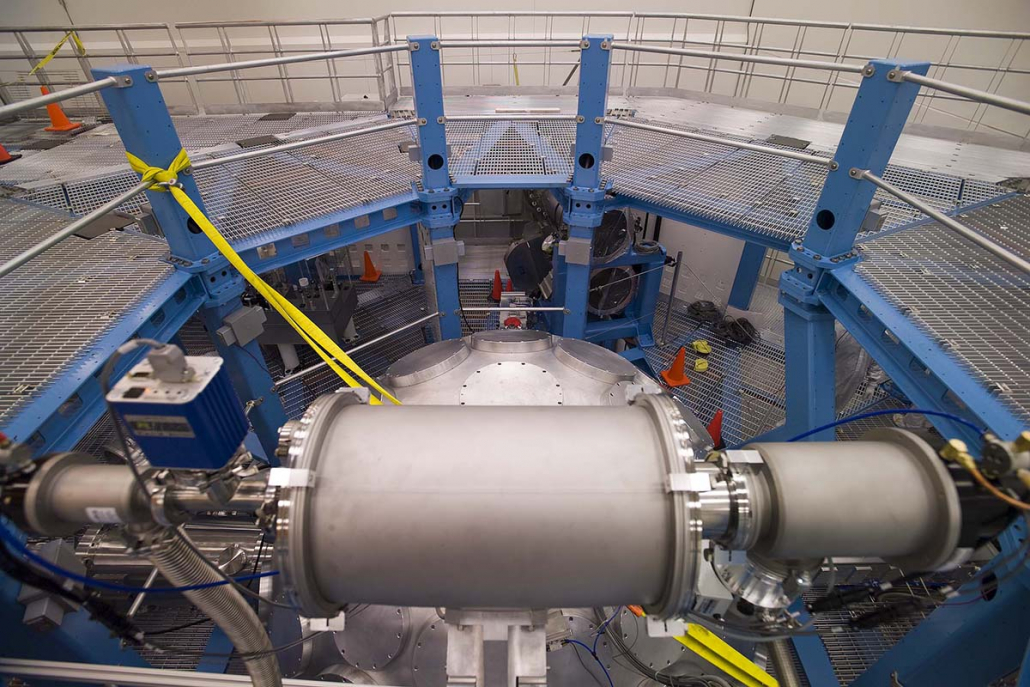 Short-pulse beam transport tubes as seen from the target positioner