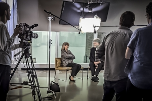 Donna Strickland with Mike Campbell filming Wired episode