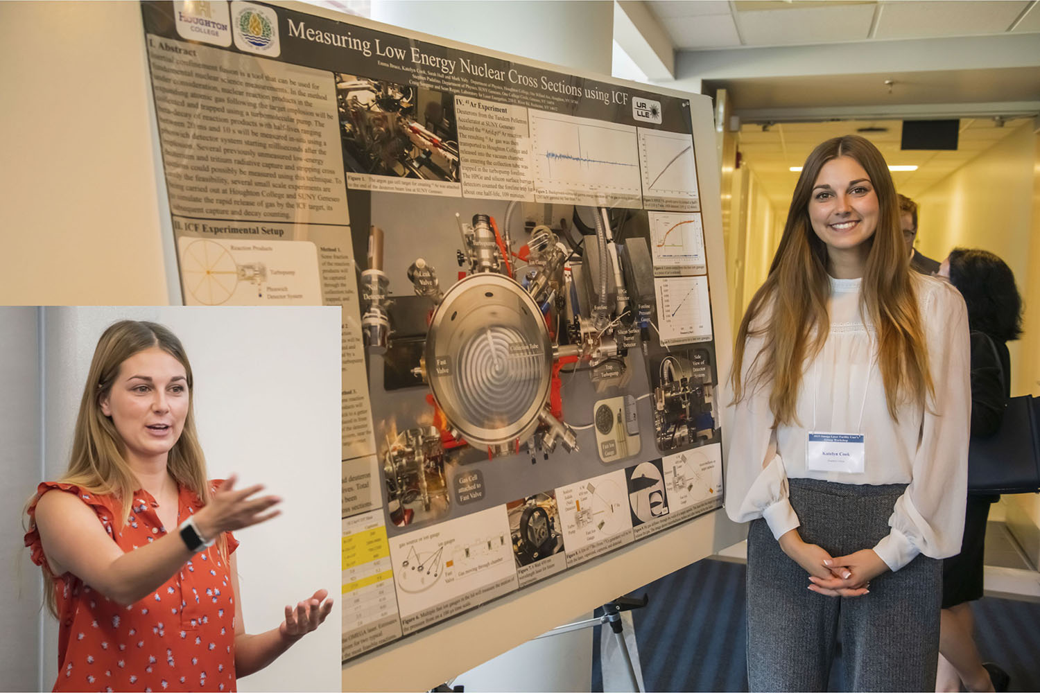 Katelyn Cook at 2019 Omega Laser Users Group meeting with her poster; the inset shows her speaking