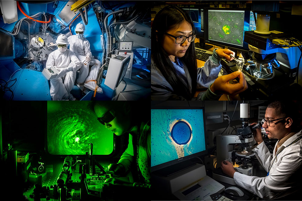 Max Neiderbach and Michael Sharpe in protective gear (upper left), Michele Lin (upper right) displaying a piece of a unique plastic, Ji-Mi Jang (lower left) using a green laser, George Morcos (lower right) looking under a crossed polarizer