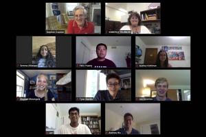 Stephen Craxton, Kimberly Truebger zoom meeting with summer high school students 2021