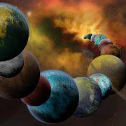 Artist interpretation of exoplanet formations