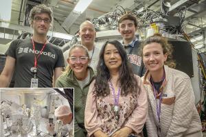 Bob Nagler (LCLS scientist), Linda Hansen (UR graduate student), Alex Chin (UR graduate student also visible in the inset), Hae Ja Lee (LCLS scientist), Ethan Smith (UR graduate student), and Danae Polsin (LLE scientist).